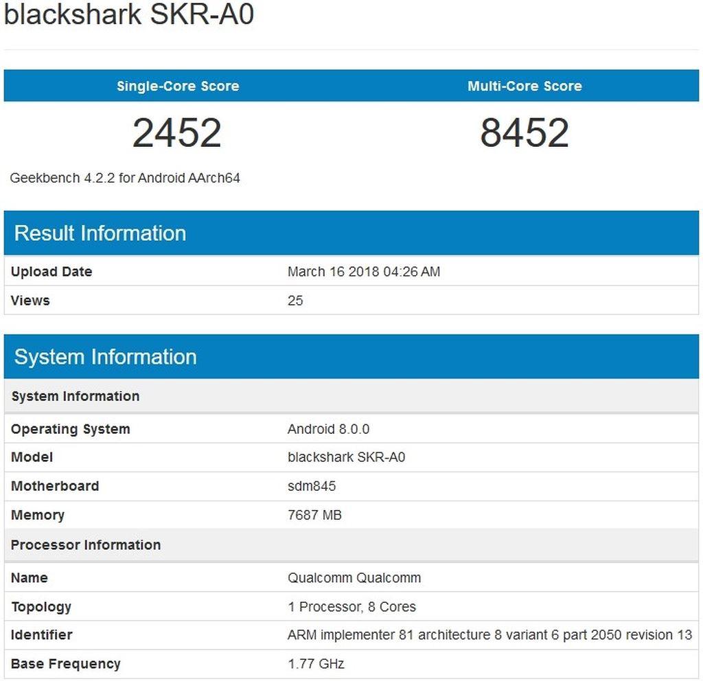 Smartphone chuyên game Xiaomi Blackshark lộ thông số với Snapdragon 845, RAM 8GB ảnh 2