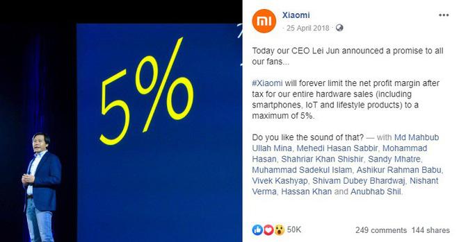 Lời hứa Không bao giờ thu lãi quá 5% từ phần cứng của Xiaomi nay đã tan thành mây khói - Ảnh 1.