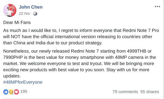 Xiaomi xác nhận Redmi Note 7 Pro sẽ không được bán ra tại thị trường quốc tế, người Việt muốn mua chỉ biết tìm hàng xách tay - Ảnh 2.