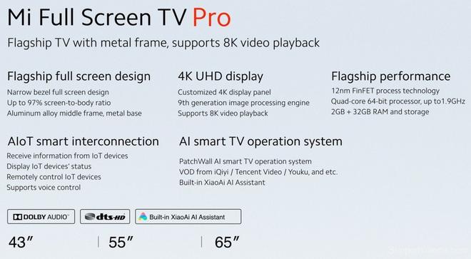 Xiaomi ra mắt Mi TV Pro: Thiết kế tràn viền 97%, hỗ trợ độ phân giải 8K, giá bán chỉ từ 210 USD - Ảnh 3.